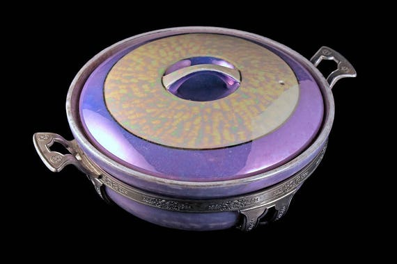 Covered Casserole Dish, Royal Rochester, Royalite, Silver Holder, Lusterware, Heat Proof, Hand Painted, Lavender