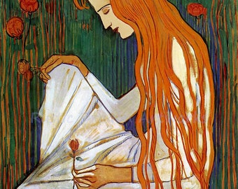 """Ferdinand Holdler """"The Dream"""" 1897 Lady Sitting Holding Flower Looking Sad Art Nouveau Reproduction Digital Print  Wall Home Decor"""