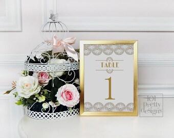 Art-Deco-Hochzeit Tisch Karten druckbare Tabelle Zahlen