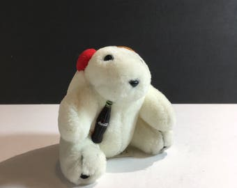 Sale 20% Off Coca-Cola Polar Bear Plush Stuffed Animal Ornament With Red Headphones Ear Warmers Holding Coke Bottle Vintage Classic 1993