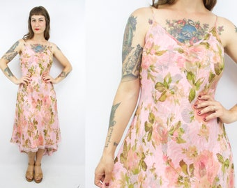Vintage 90's Pink Silk Chiffon Rose Print Sundress / 1930's Inspired / Summer / Roses / Hi-Lo Hem / Women's Size Medium
