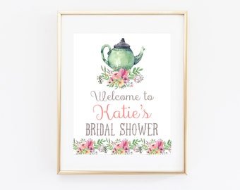 Tea Party Bridal Shower Welcome Sign Printable, Welcome to the Baby Shower, Tea for Two Printables, Cottage Chic, Vintage, Rustic, Shabby