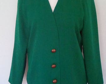 Vintage Jacket blazer 1980s made by Mad Jak Designs Made In England Emerald green size large