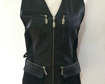 Vintage 90s black leather waistcoat ladies fitted long length vest size small