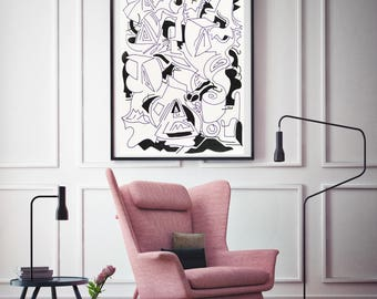 Modrn abstract acrylic painting, Giclée print on archival paper. - Limited edition collectable. Only 18 available.