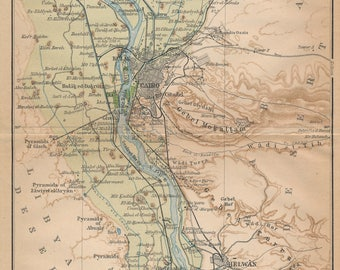 1911 Cairo Egypt Antique Map