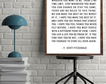 "Inspirational Quote Printable, ""For What it's Worth"", F. Scott Fitzgerald Quote, Digital Printable"