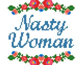 """PATTERN: Cross Stitch """"Nasty Woman"""" PATTERN *PDF* File"""