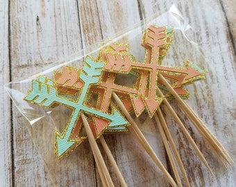 Arrow Cupcake Toppers... Young Wild & Three... Mint and Pink... Baby Girl