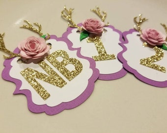 Antler Photo Banner... Purple and Pink... Photo Banner... First Birthday... Baby Girl... Flower Party Decor...