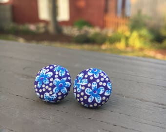 Fabric Button Earrings: BLUE FLORAL