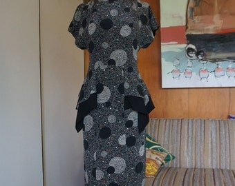 Vintage 1980's does 1940's Black Polka Dot Peplum Dress Size S by Barbara Barbara