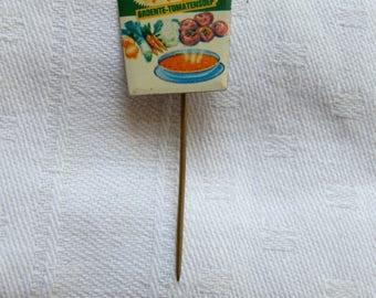 Vintage CALIFORNIA Gardente Tomaten Soep / Tomato Soup Dutch Advertising Stick Pin Badge