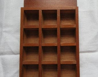 Vintage Wooden Wall Hanging Thimble 12 Compartment Display Shelf