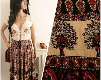Vintage Boho Indian Block Print Floral Peacock Cotton Gauze Skirt / UK 12 14 16 / EU 42 44 46 / US 8 10 12