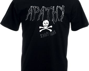 Apathy T-Shirt - 'I Don't Care', Anarchy, Punk, Hand Drawn, Various Colours