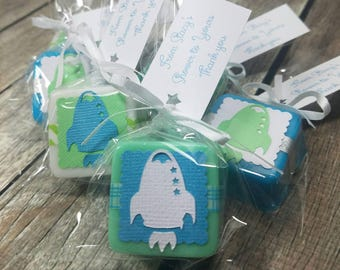Rocket outer space baby shower or birthday party favors choose your own colors