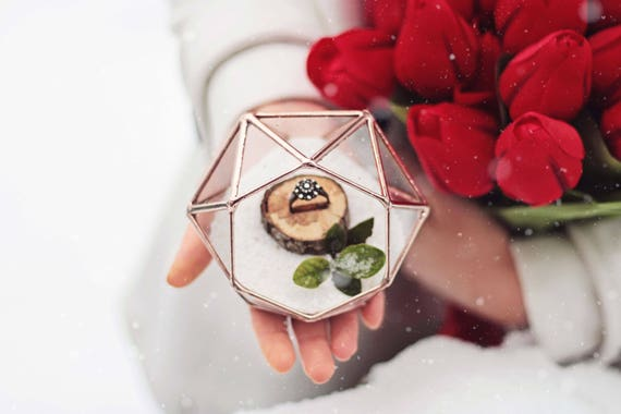 Wedding Ring Box Glass Ring Bearer Box Rose Gold Ring Box