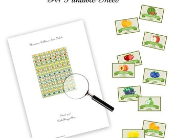 Printable dollhouse jam labels, 1:12 scale DOWNLOAD, jar, fruits