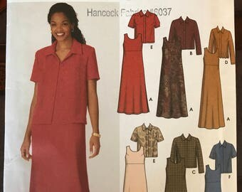 Simplicity 9890 - Easy to Sew Dress with Raised Waist and Long or Short Sleeved Jacket - Size 18 20 22 24