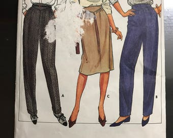 Butterick 6094 - 1970s or 80s Basque Waist Tapered Pants or Skirt with Center Inverted Pleat - Size 6 8 10