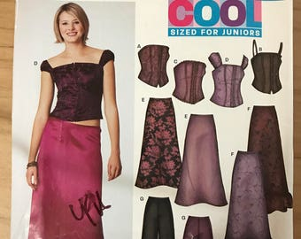 New Look 6207 - Cool Back Lace Bustier Style Sleeveless or Strapless Top, Flared Skirt with Ruffle Hem, or Wide Legged Pants - Size 3 - 14