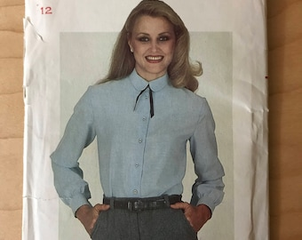 Butterick 3442 - 1980s Beginner Pattern Button Front Blouse with Peter Pan Collar and Long Gathered Sleeves - Size 12 Bust 34