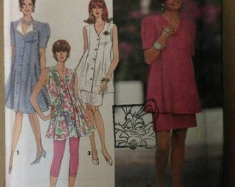 Simplicity 7811 Easy to Sew V Neck Maternity Dress, Tunic Skirt and Leggings - Size 6 8 10 12
