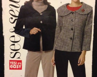 See & Sew B5408 Easy Unlined Jacket with Collar and Button Options - Size S M L