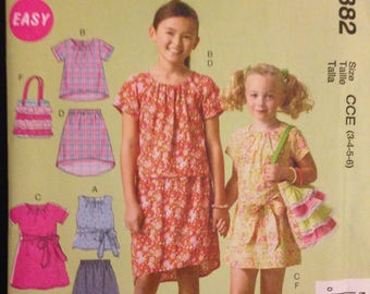McCalls M6882 Little Girls Wardrobe Separates Dress, Top, Skirt and Ruffled Bag - Size 3 4 5 6