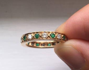 Emerald and Diamond Gold Eternity Band