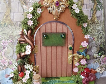 Fairy Queen Door in Rose Gold that opens with Fairy rules inside the door, Handmade Large Fairy Door with planted garden and wands,