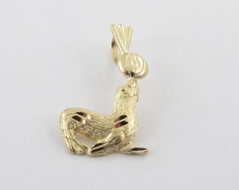 14k Yellow Gold Sea Lion Charm Pendant - Sea Lion Playing With A Ball