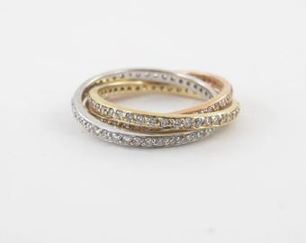Diamond Rolling Bands 14k Yellow White And Rose Gold Size 7 Stackable 1.00 ct