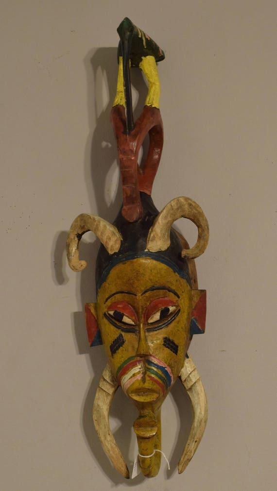 African Baule Yellow Bird  Mask Ivory Coast Handmade Bird Crest Female Beauty Wisdom Yellow Face Bird Mask
