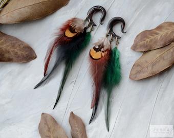 Boho long feathers ear hangers plugs,dangling ,tribal gauges piercing 6,8,10,12,14,16,18,20 mm,6g,4g,2g,0g,00g,1/4,1/2,5/16,9/16,5/8,3/4