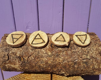 Elemental Runes, Earth, Air, Fire, Water, Wiccan Symbols, Pagan Signs, Witchcraft and Spells, Ritual Tool, Divination, Altar, Spirituality