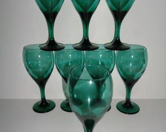 vintage green wine glasses libbey green wine glasses vintage green goblets green water - Water Goblets
