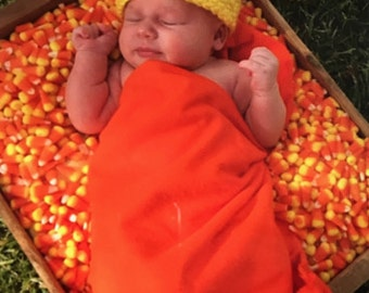 Chunky Candy Corn Hat  Great for Babys Photo prop 0-3 Months to 6-12 Months  also have the stretchy cloth to make a Set Free Shipping!!!!!