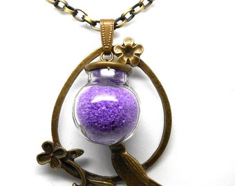 Necklace glass purple bird charms and co.