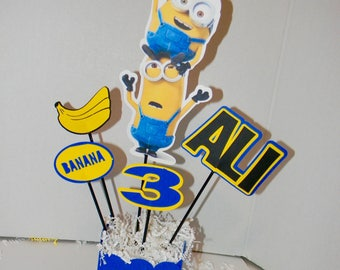 Minion Birthday Party Centerpieces. Minion Party Decorations. Despicable Me Party, Minion Birthday