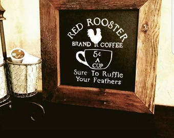 Red Rooster Coffee Chalkboard Sign