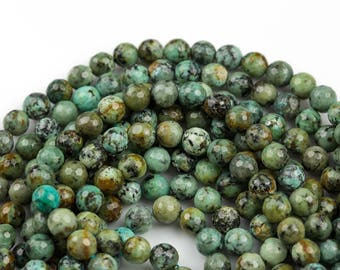 African Turquiose Faceted Round--Full Strand 15.5 inch Strand, 4mm, 6mm, 8mm, 12mm, or 14mm Beads