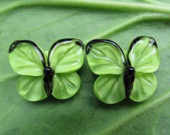 Handmade lampwork beads, 1 pc green lampwork butterfly bead, glass lampwork beads, glass lampwork artisan beads, glass beads for earring