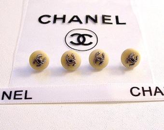 "4 Coco Chanel Paris 10mm 3/8"" Small Round Beige Tan Lucite Vintage Authentic Replacement Button Lot Set Silver Gunmetal Raised Lined CC Logo"