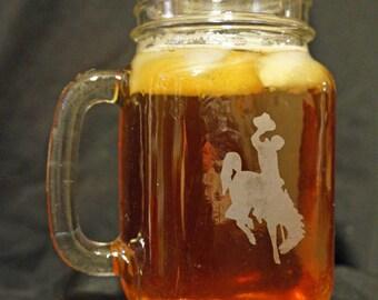Wyoming Cowboys Mason Jar - Drinking Jar - University of Wyoming - Brought to you by Naptime - UW Cowboys - Personalized Mason Jar