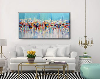 Large Abstract Art Original Extra Large Painting Colorful Wall Art Canvas Abstract Painting Blue Living Room Acrylic Painting, Christovart