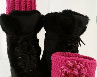 """Ready-to-Ship Valentine Boot Cuffs Fits calf size 12-14"""""""