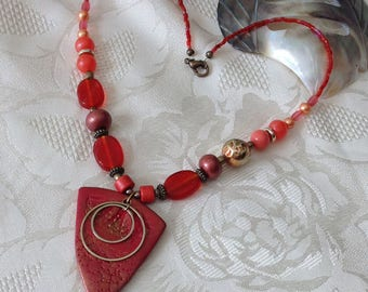 Necklace, red, coral, copper, polymer clay, triangle shape