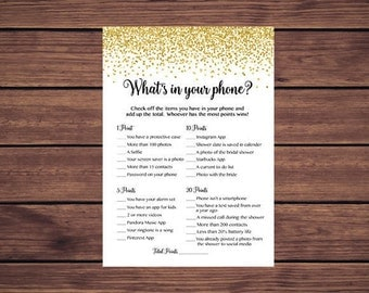 What's in Your Phone Game Bridal, Gold Confetti Whats in Your Phone Bridal Shower Game, Instant Download 207